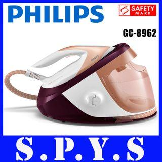 Philips GC8962 System Iron. 1.8 Litres Detachable Water Tank. Up to 520 Grams Steam Boost. Guaranteed No Burns. Local SG Seller. Safety Mark Approved. 2 Years Warranty.