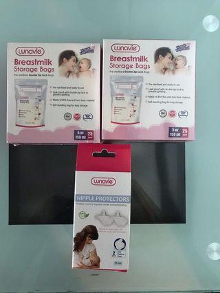 Breast milk storage bag and nipple protector