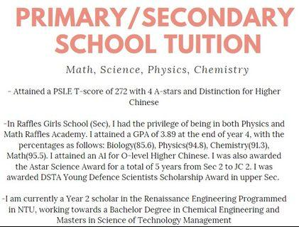 RGS/RJC tutor for primary and secondary