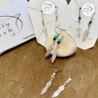 羽毛耳環  純銀耳環 不鏽鋼耳環 波希米亞風 綠松石 貝殼 琉璃水晶 人造藍砂 turquoise