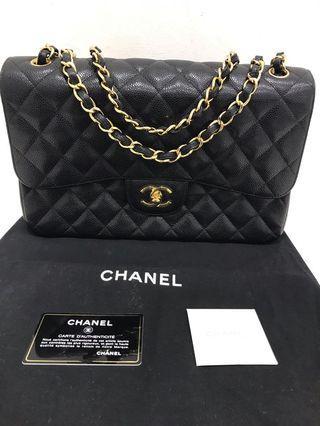 Chanel Jumbo Double flap GHW Classic Black Caviarskin Bag