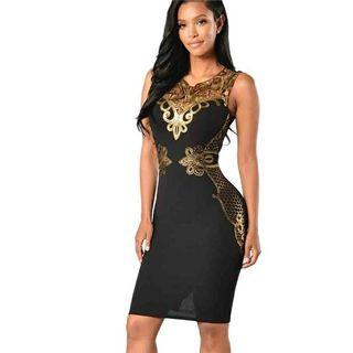 Bodycon Black Dress with Gold Lace Dress