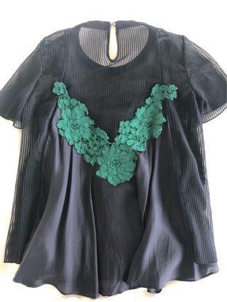 SACAI silk and chiffon top