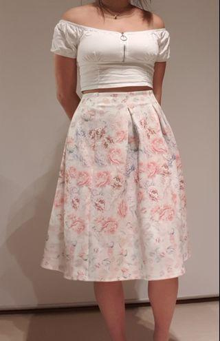 Floral Scuba Maxi Skirt