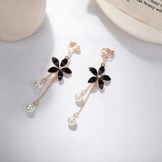 花朵珍珠垂墜式耳環 耳夾 無耳洞耳環