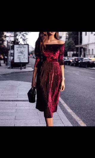 酒紅色平口洋裝