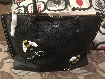 Kate Spade Bee Appliqued Leather Tote