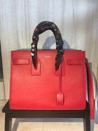 Yves Saint Laurent Sac De Jour Red Shoulder Satchel Bag