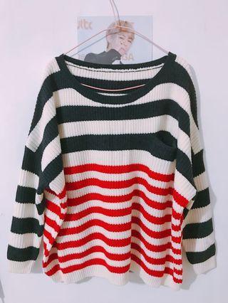 (全新)條紋長袖針織毛衣