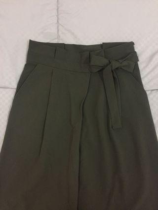 High waist paperbag pants