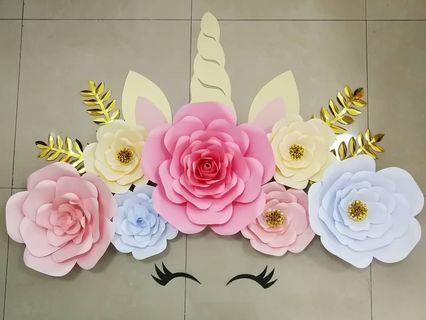 🦄Unicorn Paper Flower Decoration BIG Set