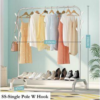 Free delivery Single Pole with Hooks clothes rack
