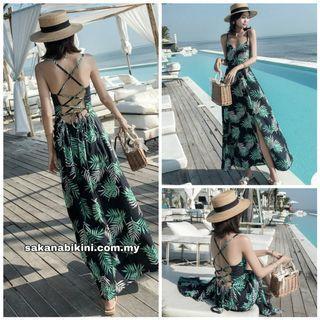 Leaf print strappy beach dress