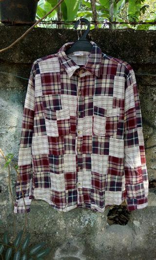 Flannel oshman patch work japan (not uniqlo h&m zara)
