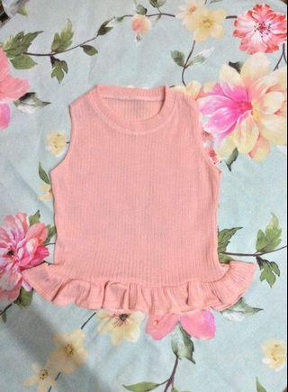(Free postage) Pink ruffle crop top