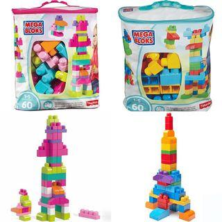 60pcs Mega Bloks First Builder Building Blocks Construction Educational Toy Set  Montessori Shape Color Alphabets Numbers Animals Vehicles Transport Puzzles
