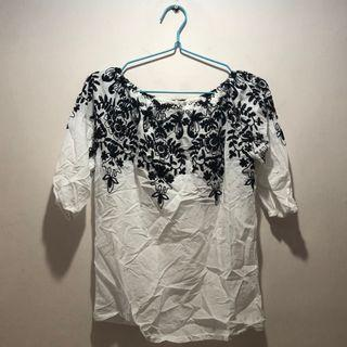 Black Flower on White Off Shoulder Top