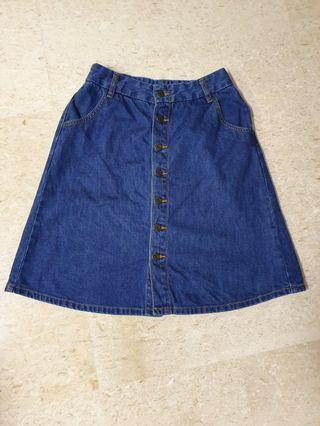 Denim Medium Length Skirt
