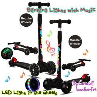 Scooter foldable music lights wheels