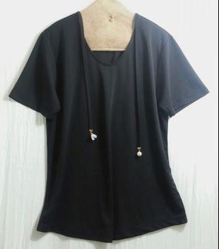 🚚 韓版黑色薄棉珍珠花朵造型T