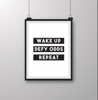 Wake Up Defy Odds Repeat Wall-art Print