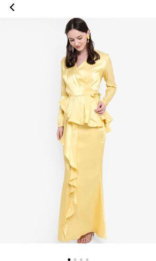 (RENT) Lubna drape kurung yellow