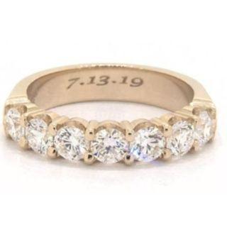 (Customize Design) 18K YELLOW GOLD 1.00CTW SEVEN STONE COMMON PRONG DIAMOND ANNIVERSARY RING