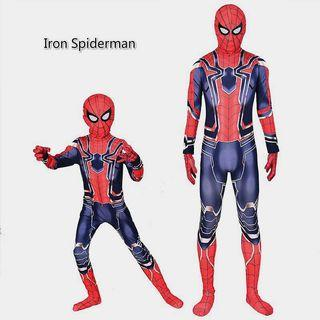🚚 Preorder Kids Spider-man Costume Adult Iron spiderman Jumpsuit  ( can be your Halloween costume 😊)