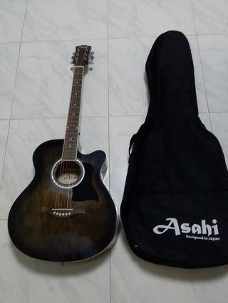 Brand New Asahi Acoustic Guitar With Brand New Padded Guitar Bag