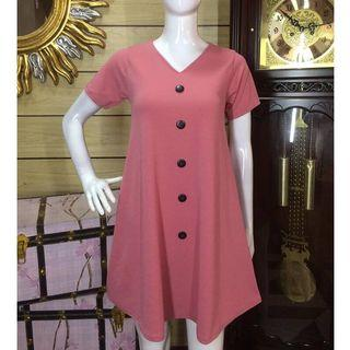 Button A-line Flowy Dress (UNUSED) Old Rose