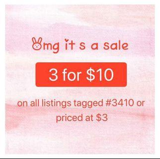 3 for $10 assorted dresses, tops & bottoms