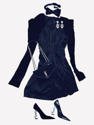 💝STEAL THIS AT 70% OFF! Venetian Velvet Dress - Liquid Satin Formal Frock with Velvet Sleeves - Great Gatsby Inspired Opera Dress