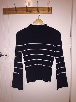 Black mock neck knit