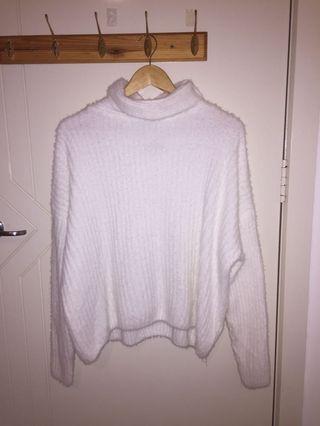 White mock neck knit