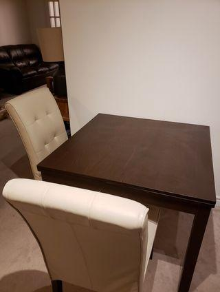 Expandable Dining Table with 2 Leather Dining Chairs