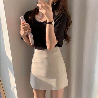 現貨-簡約百搭杏色高腰半身裙女修身顯瘦A字短裙
