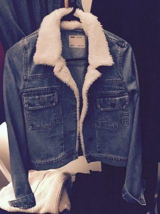 Trucker style denim jacket with borg collar size 4-6
