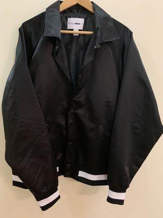 Fashion Nova Men Black Zack Satin Jacket Bomber