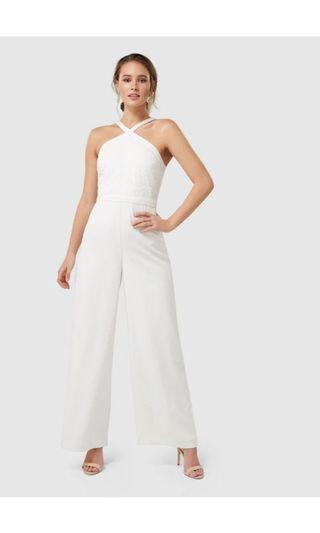 Forever New white jumpsuit Ally Lace Bodice Jumpsuit