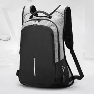 🔥IN STOCK🔥 Grey Men Backpack Laptop Bag Notebook Bag Travel Casual Bag Creative Anti Theft Locking System #MRTJurongEast