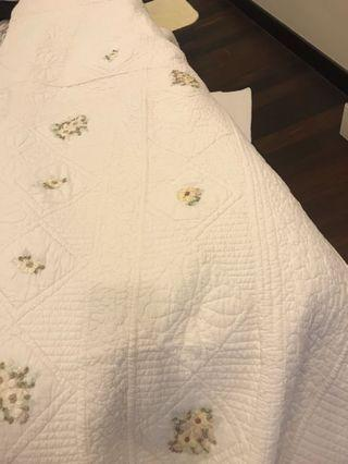 King Quilt Cover (Blanket). Off white with floral design