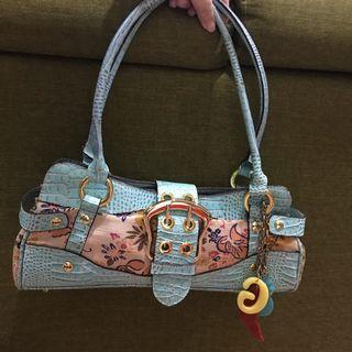 Guess turquoise and floral handbag