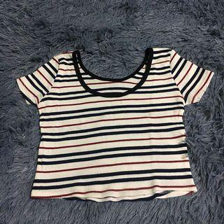 Stripes scoop crop top