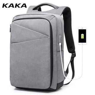 🚚 🔥PO🔥 Gray Laptop Backpack Business Travel Backpack With External USB Charging Port Computer Backbag #MRTJurongEast