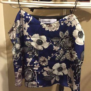 The Editor's Market Floral Sateen Cami in Blue