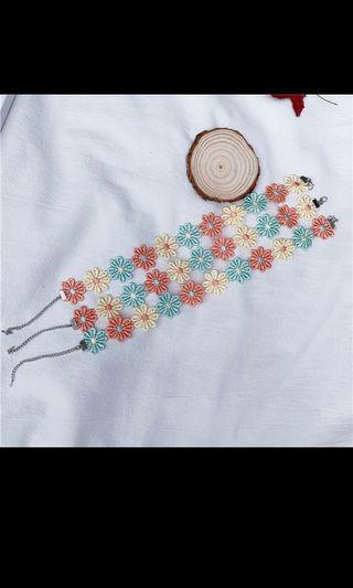 🚚 韓國項鏈 六色花項鏈 網紅頸帶頸鏈 脖子飾品 項圈短款 花色項鏈 鎖骨鏈 女生配件