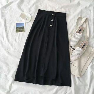 Black Button Midi Skirt