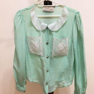 Bythian Mint Green Blouse