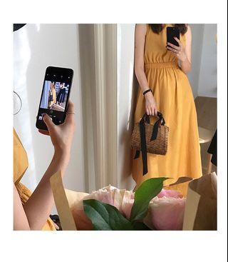 🚚 黃色極簡收腰連衣長裙❗️只穿過一次❗️