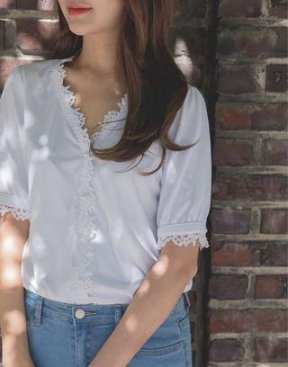 Pazzo 浪漫羅紋拼接蕾絲短袖上衣 m號
